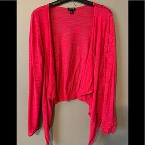 Hot pink, slub knit cardigan